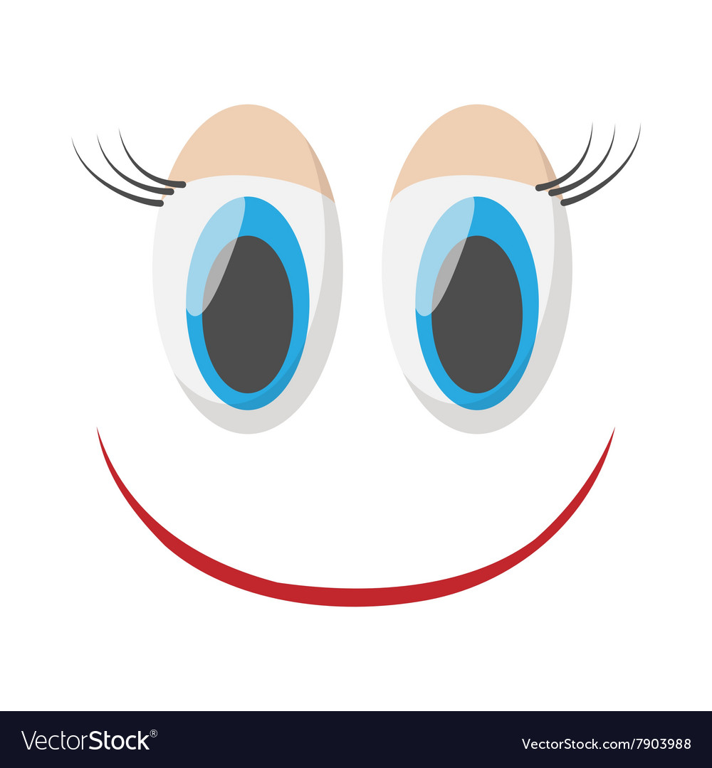 Laughing happy smile icon cartoon style