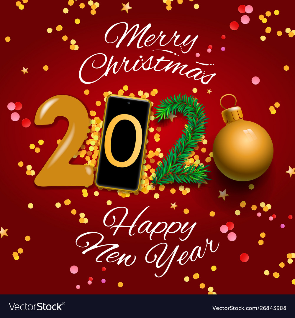 A Merry Christmas 2020 Merry christmas and happy new year 2020 greeting Vector Image