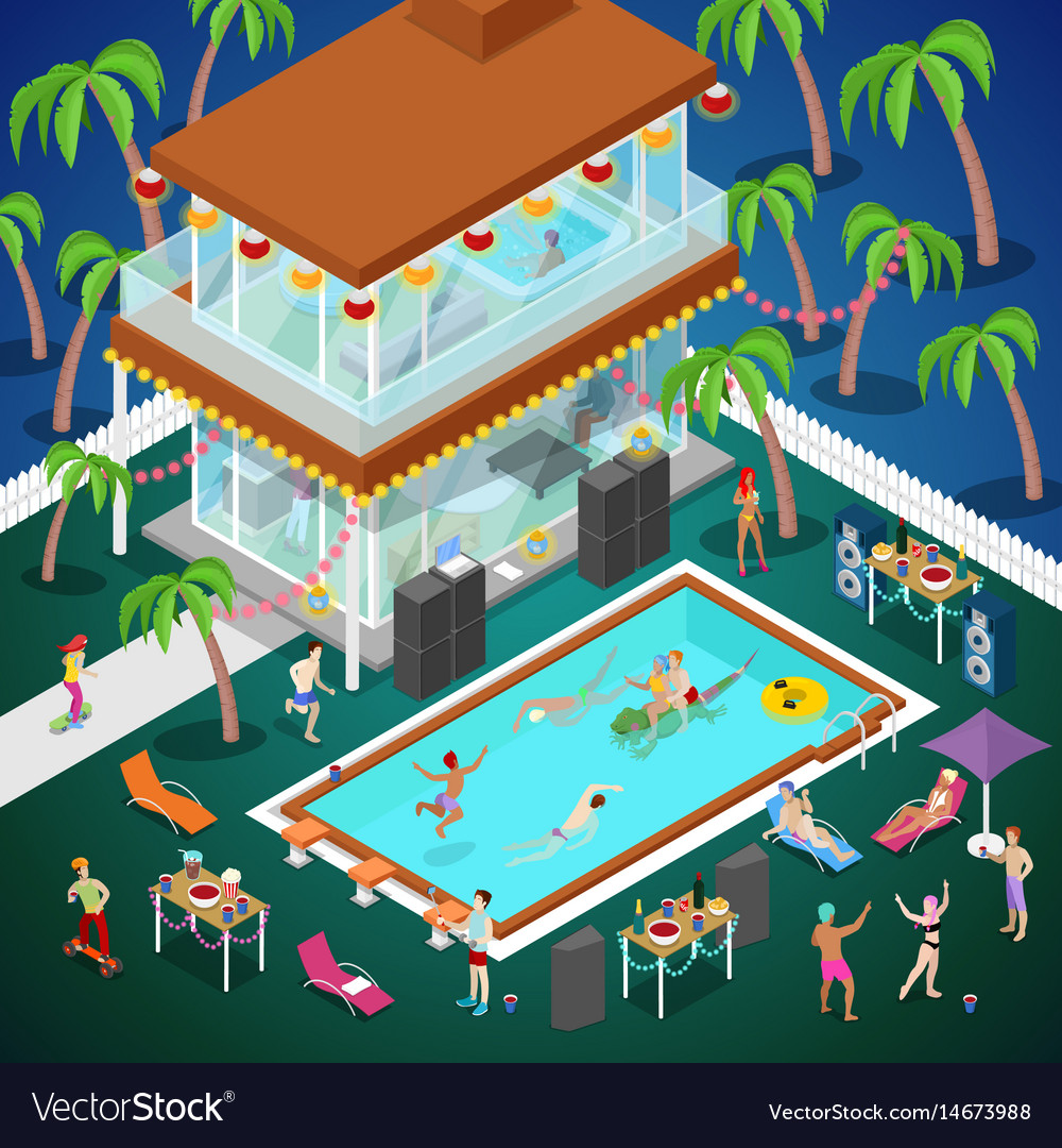 Outdoor swimming pool party isometric
