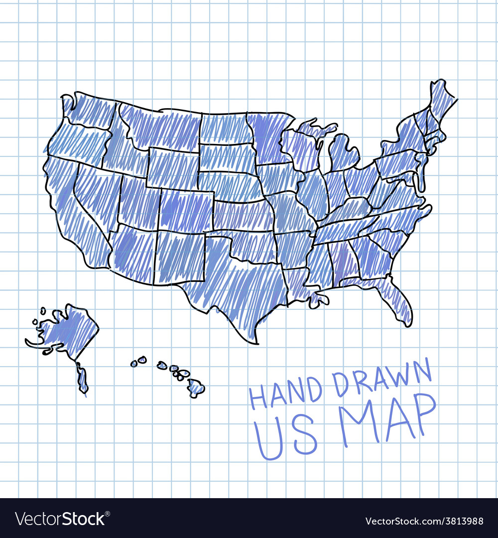 Hand Drawn Us Map.Pen Drawn Usa Map On Lined Paper Royalty Free Vector Image