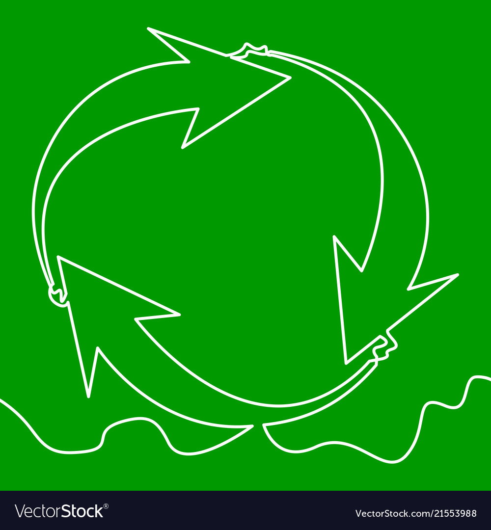 Recyclable waste recycling sign continuous line