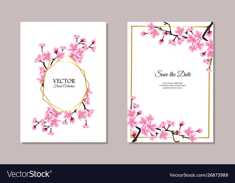 Sakura themed wedding invitation set - text