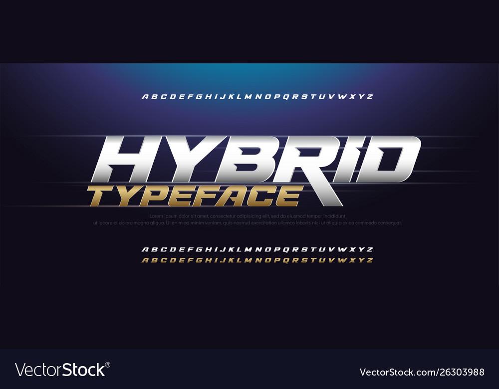 Sport modern italic alphabet gold font typography