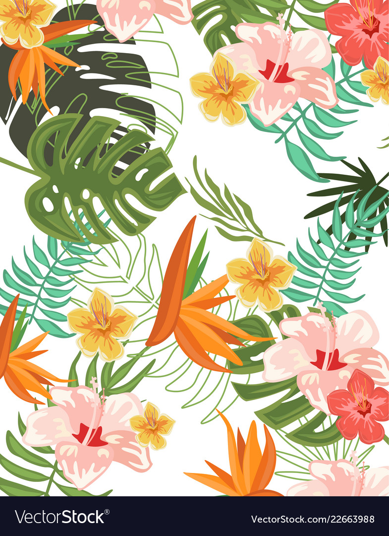 Tropical flowers graphic design for t,shirt