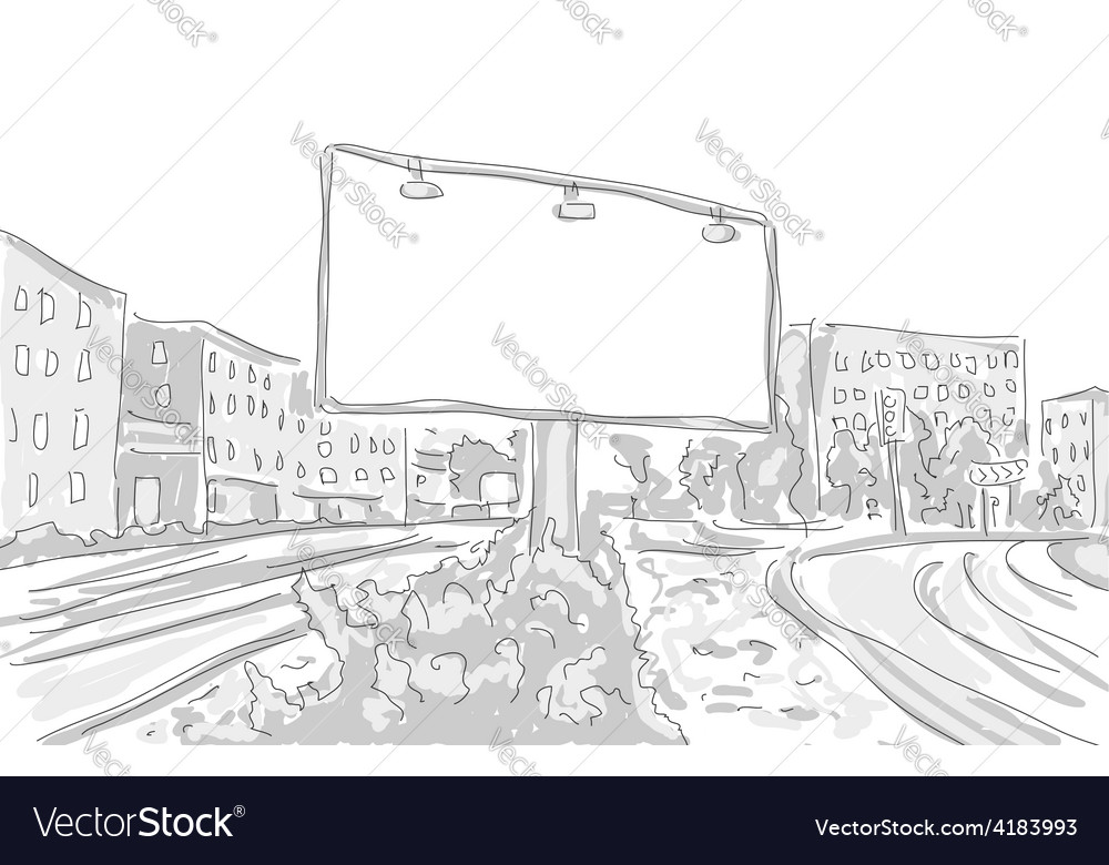 Billboard In The City Draw Graphic Design Vector Image