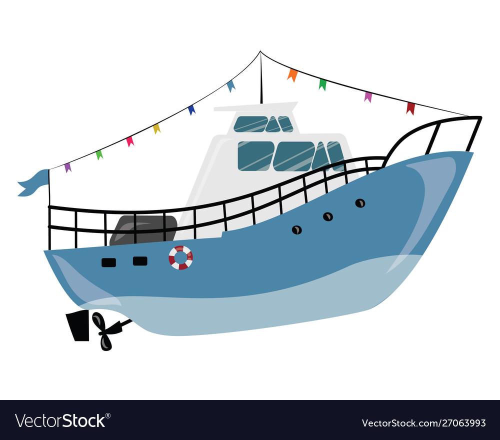 Cartoon boat a water