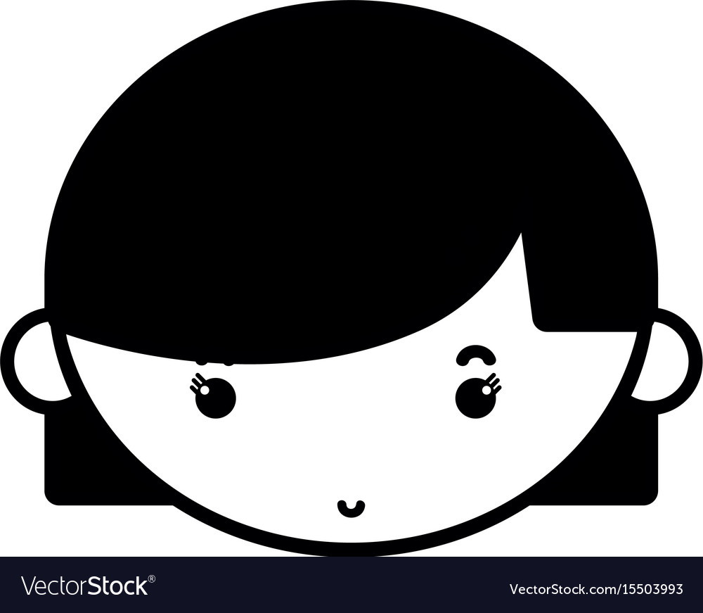 Contour child girl face with hairstyle design