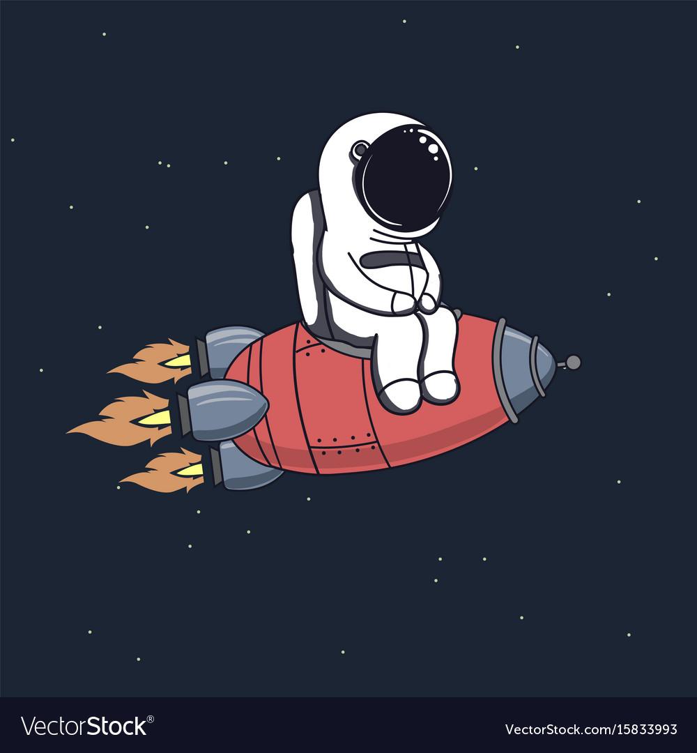 Cute astronaut sits on rocket