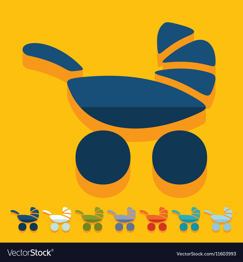 Flat design baby buggy vector image