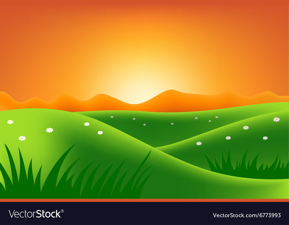 Green hills at sunset
