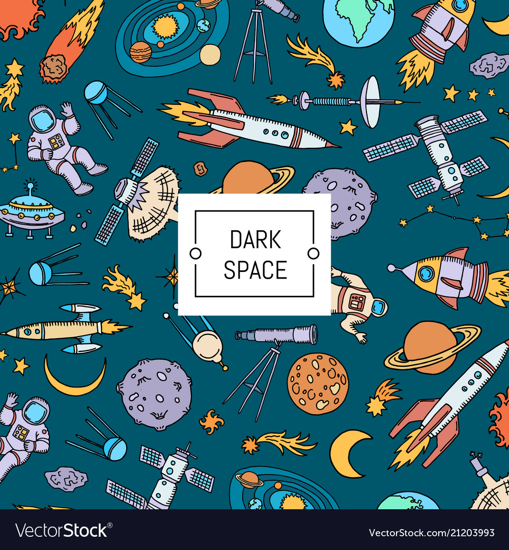 Hand drawn space elements background with