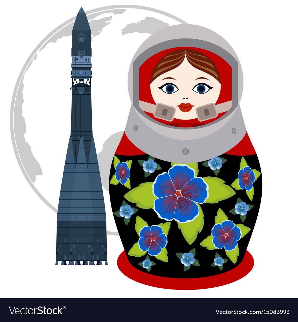 Matryoshka astronaut and rocket