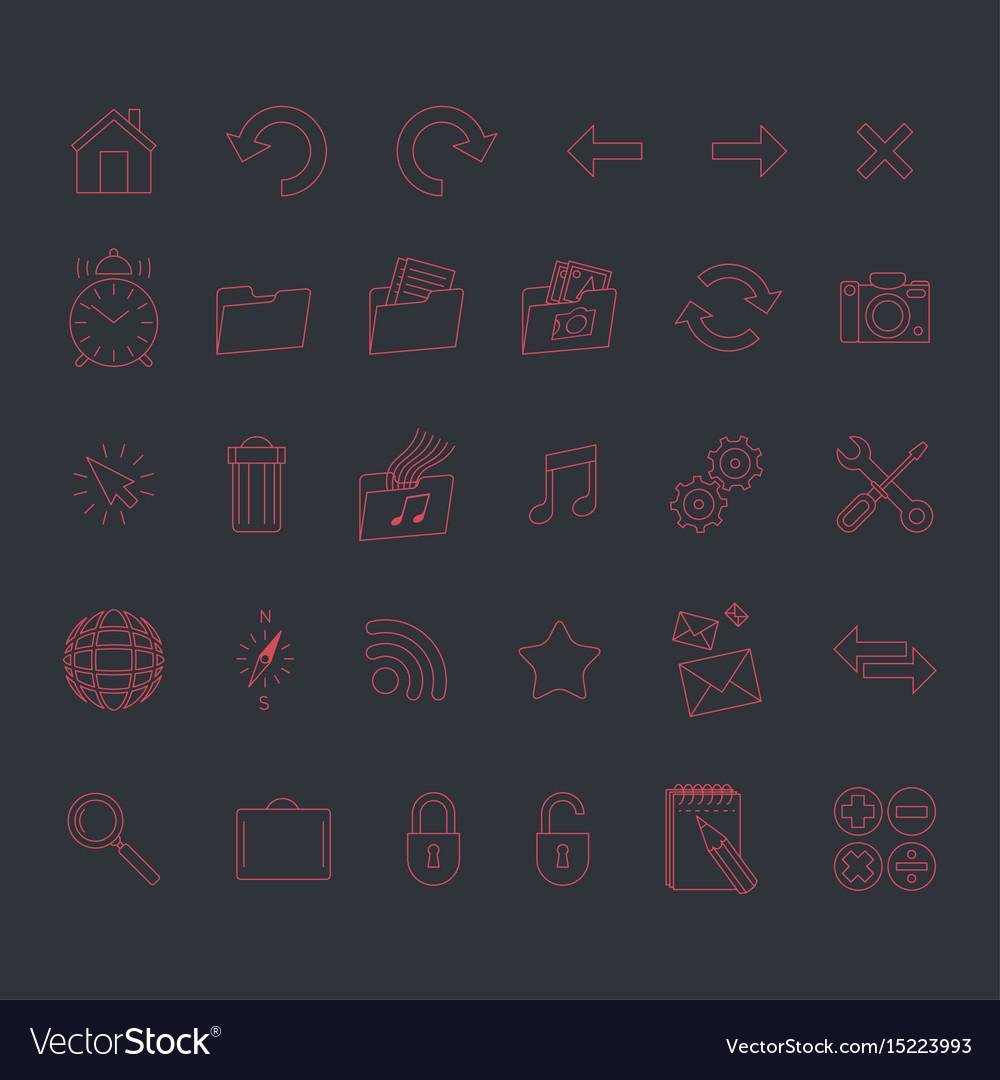 Minimalistic modern web icons set