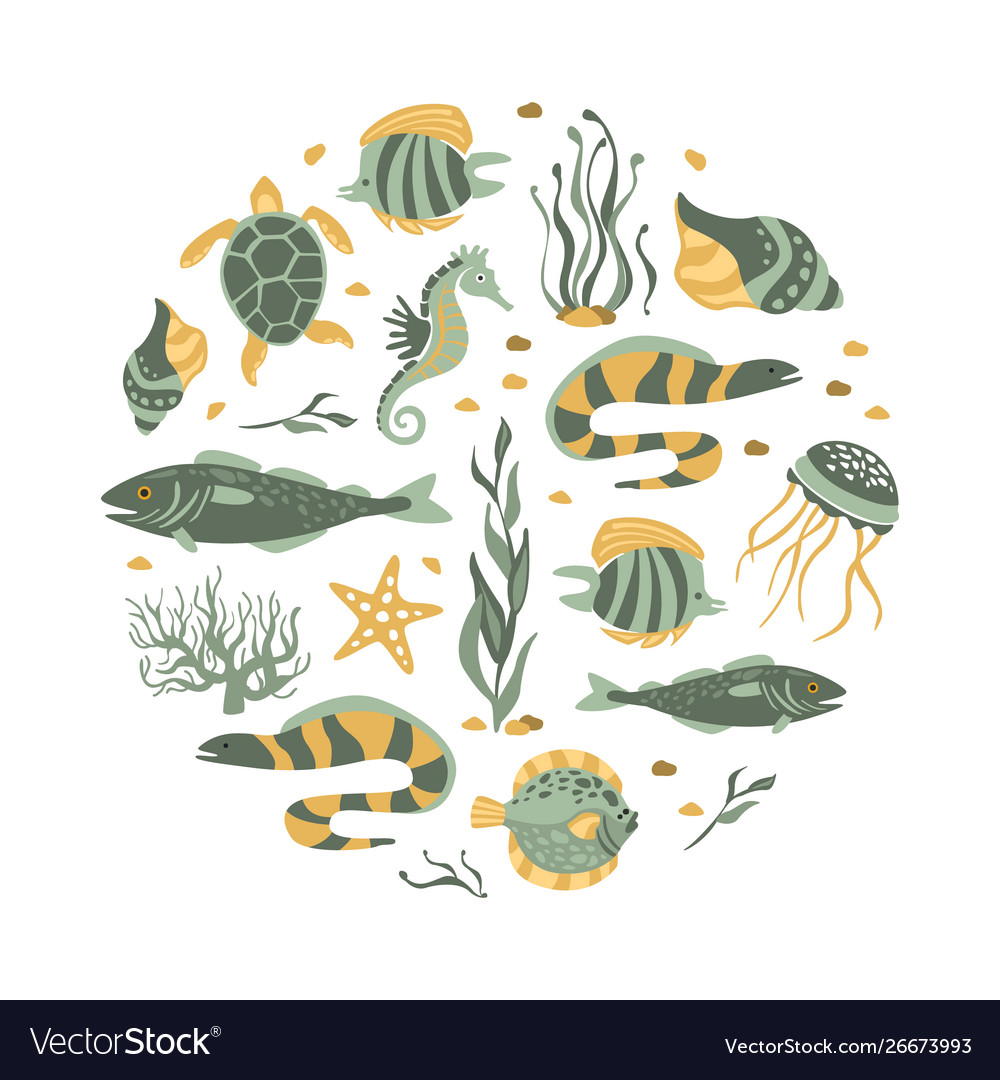 Sea creatures seamless pattern round shape