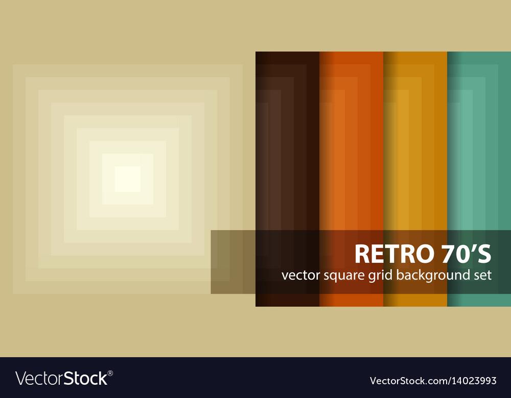 Square pattern set retro 70s seamless
