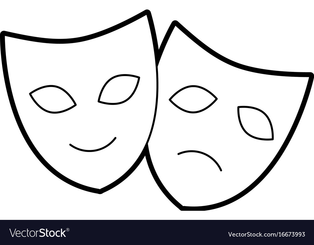 Theater masks isolated icon