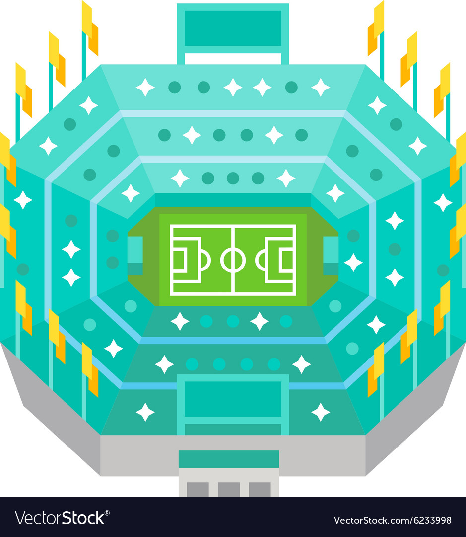 Aerial view football stadium flat design vector image