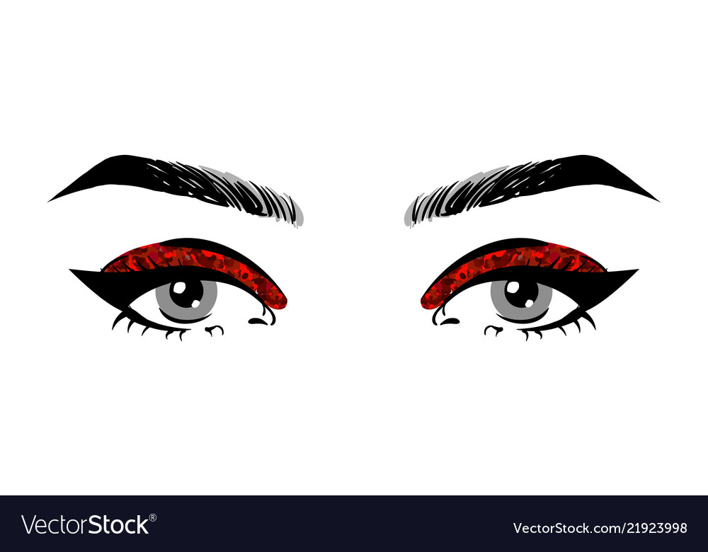 Beautiful women open eyes with red glitter makeup