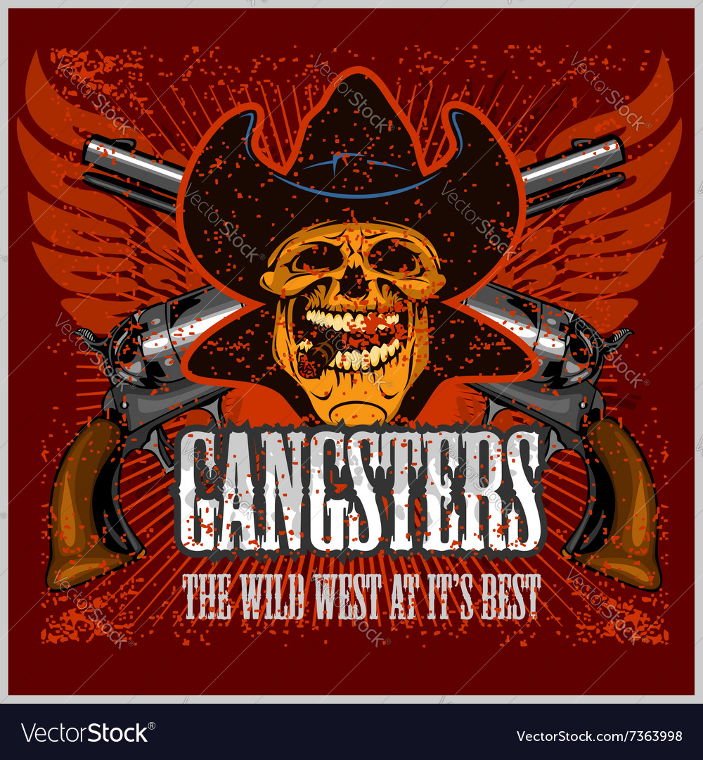 Gangster skull with cowboy hat and pistols vector image voltagebd Gallery
