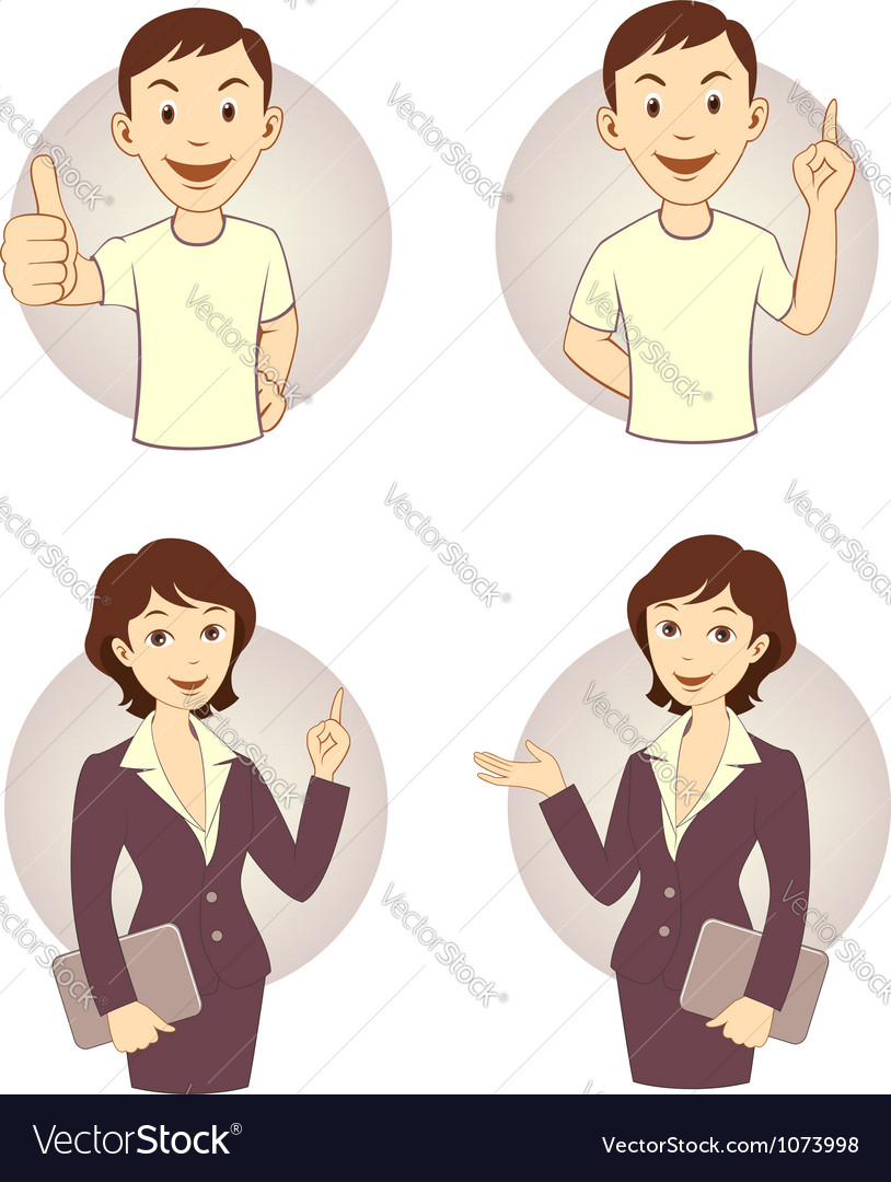 Gesturing business person set vector image
