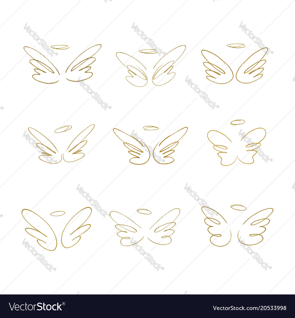 Hand drawn wings set of design elements