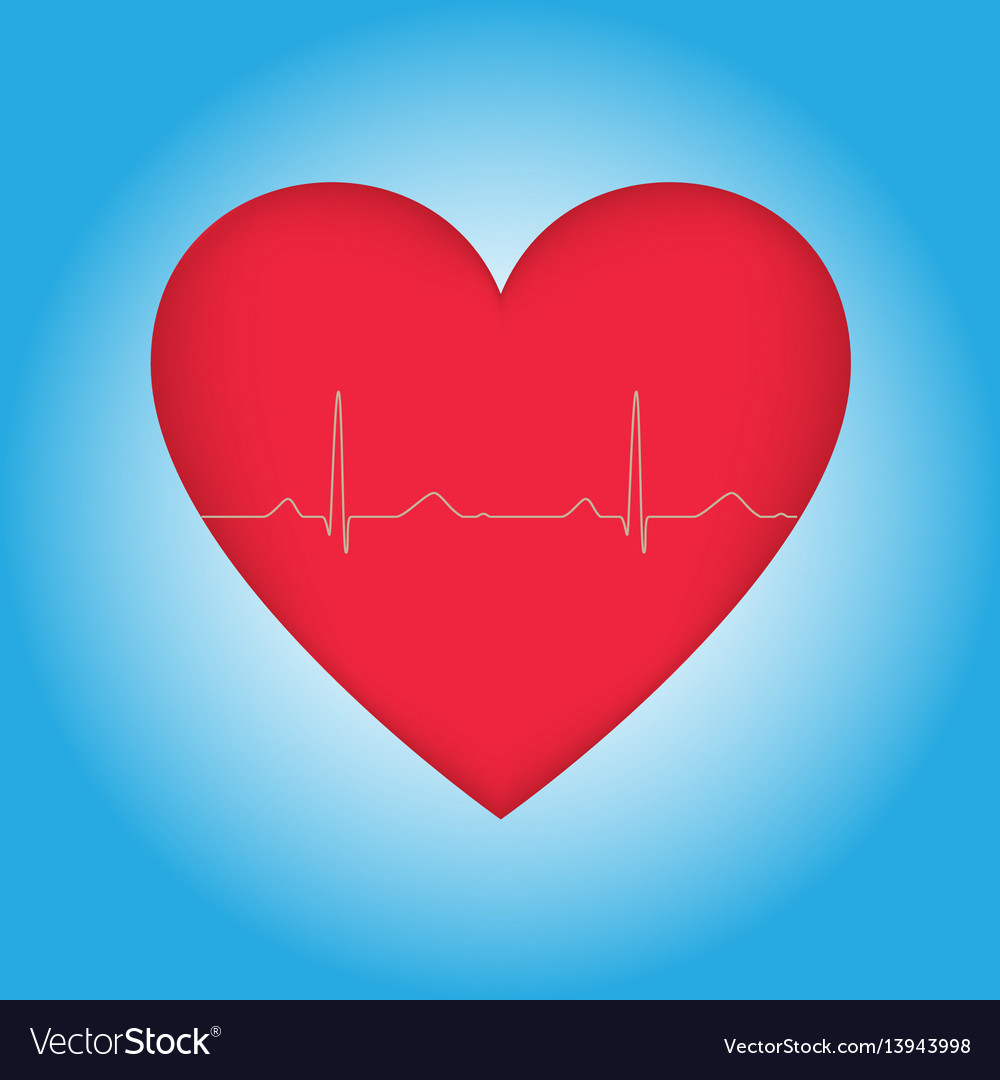 Heart with cardiogram on blue