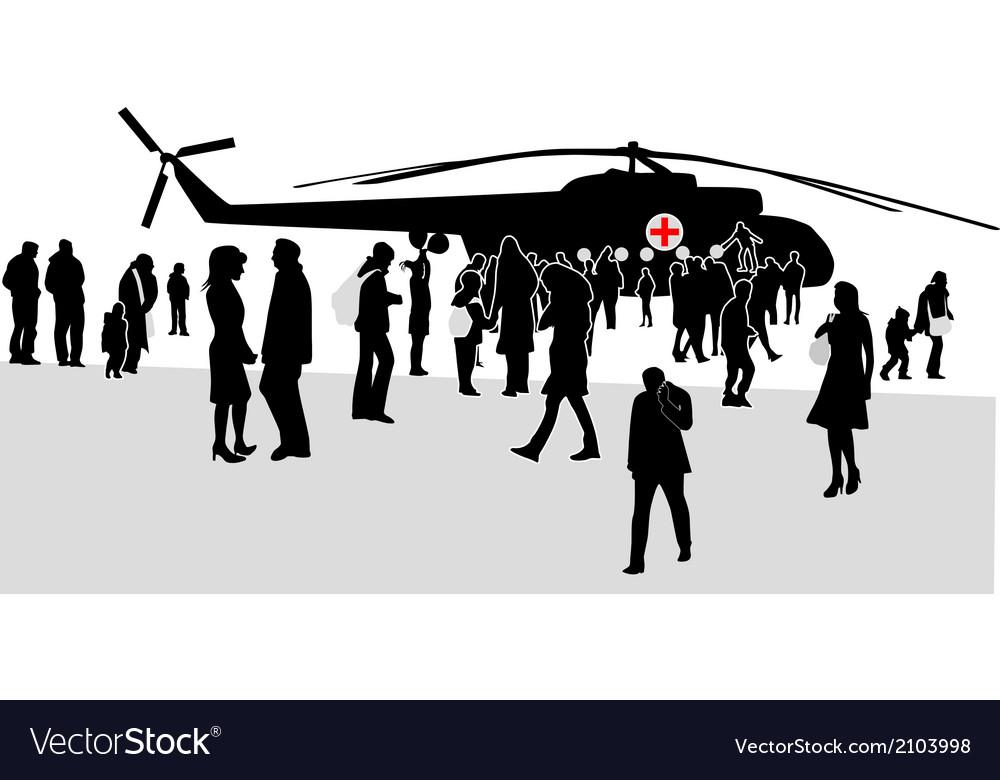 Military mass rally silhouette