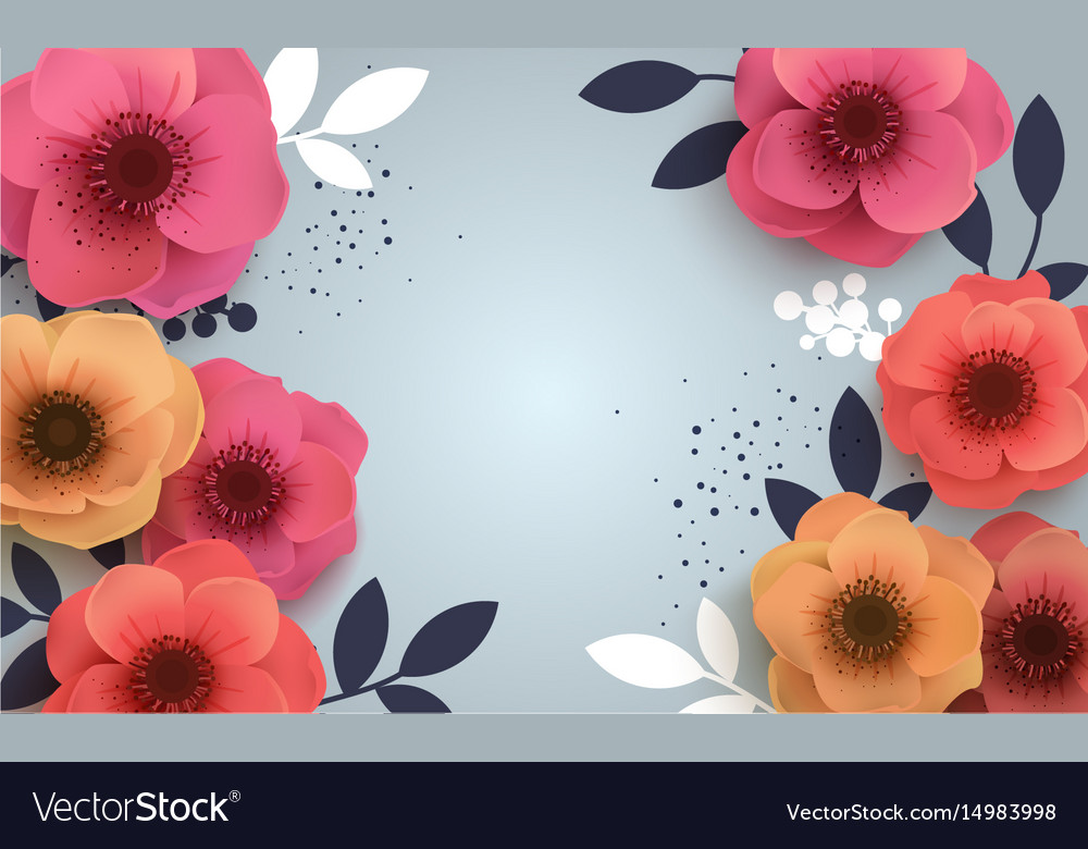 Red flowers with a realistic shadow to bannnera or