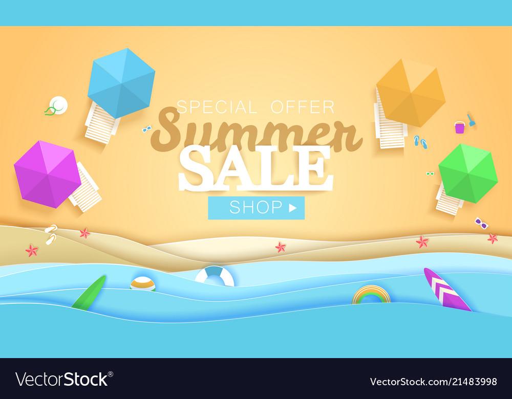Summer sale concept banner tropical beach