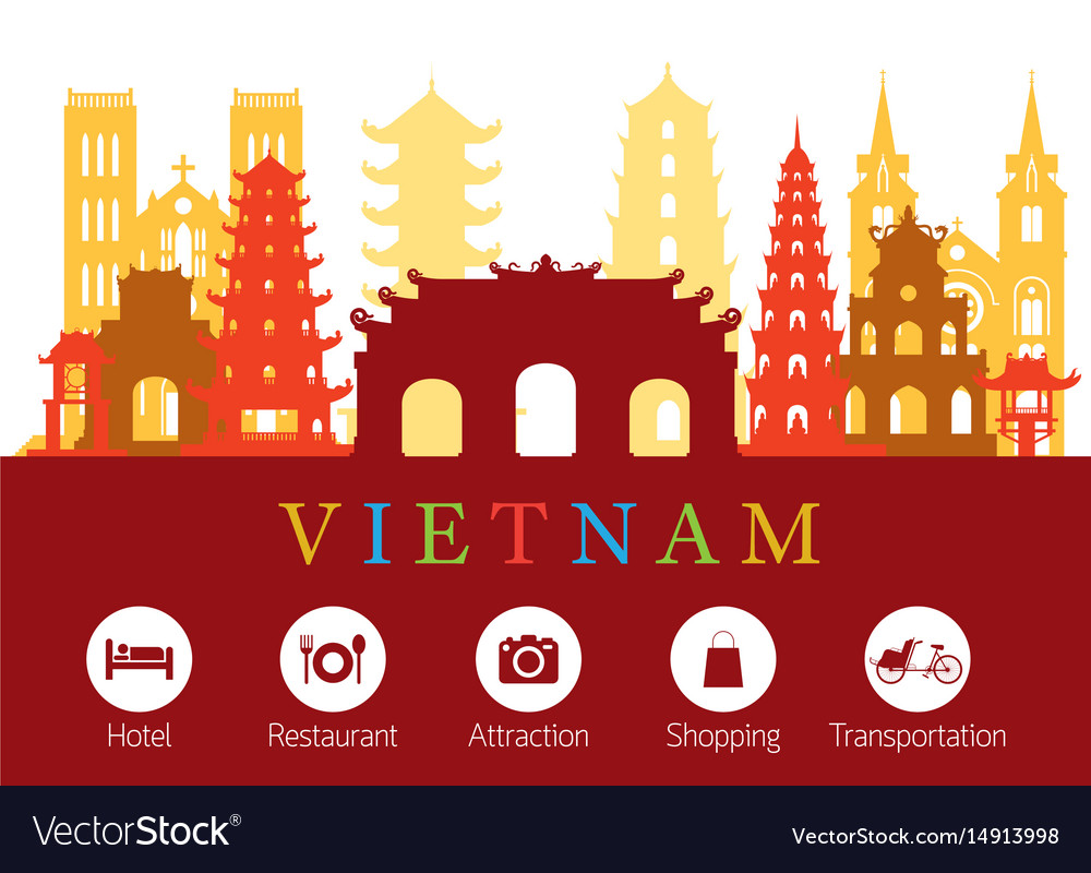 Vietnam landmarks skyline with accommodation icons