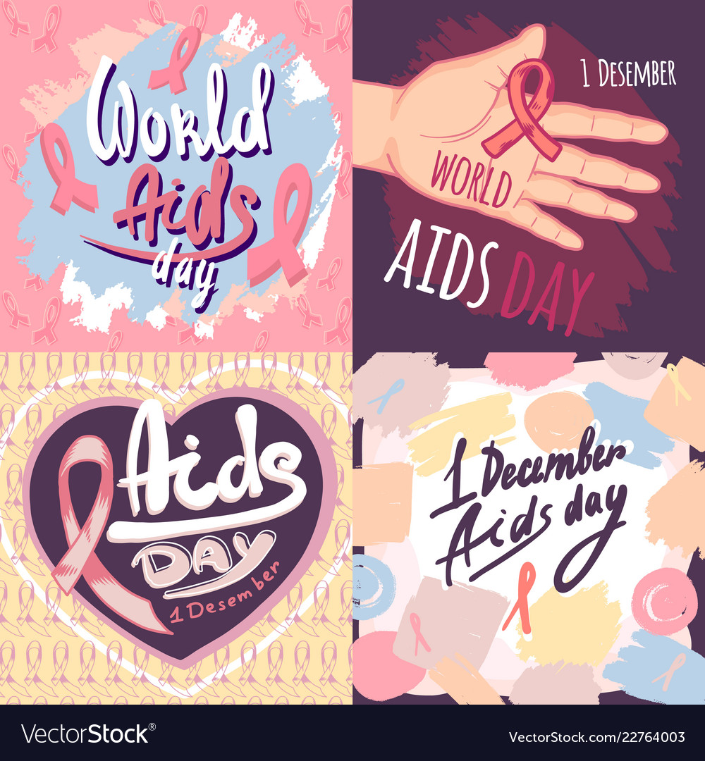 Aids day banner set hand drawn style