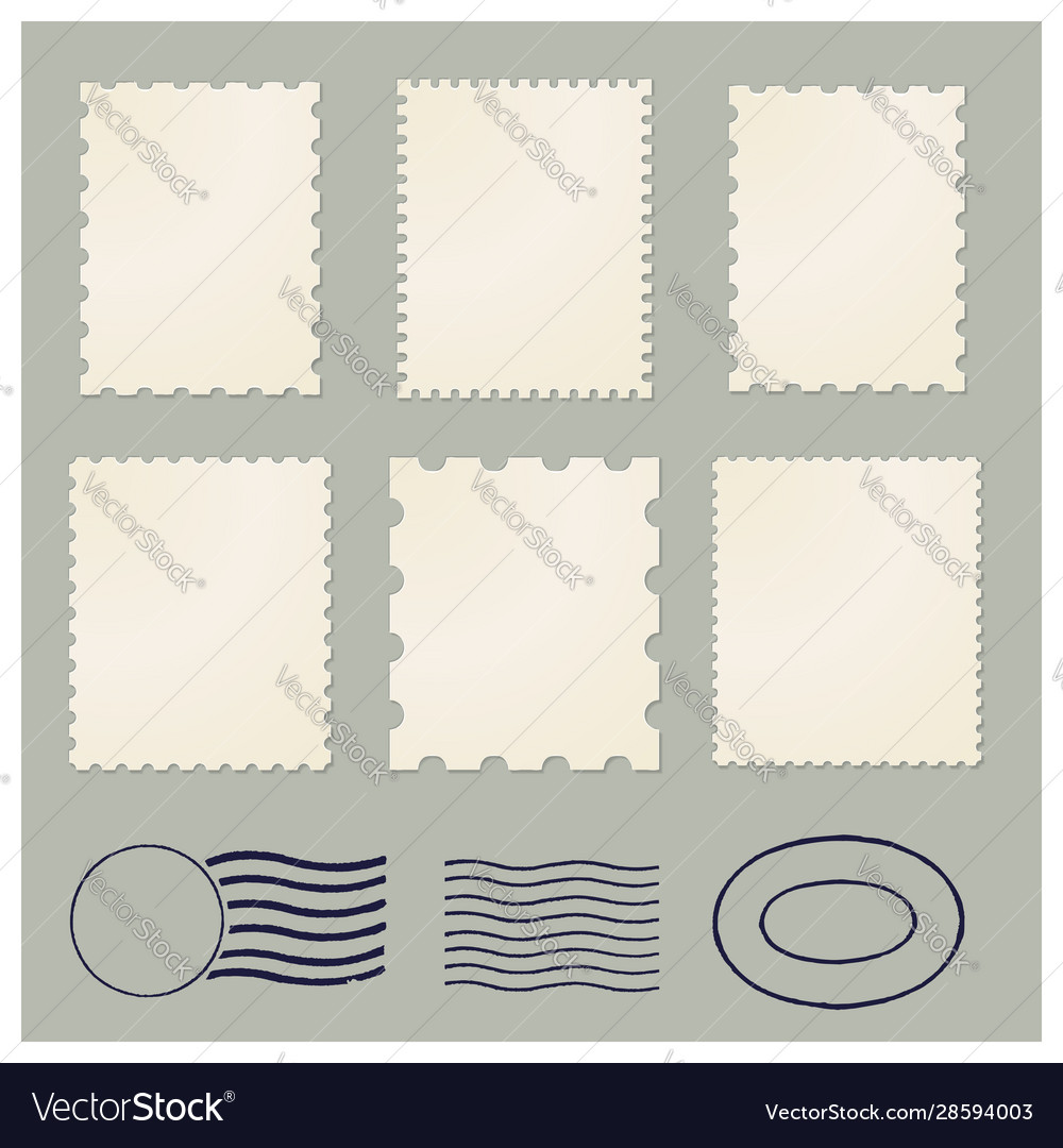 Blank postage vintage stamps frames