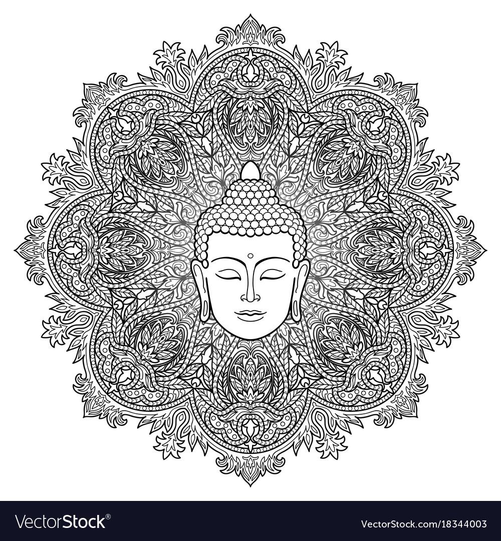 Buddha mandala coloring page Royalty Free Vector Image