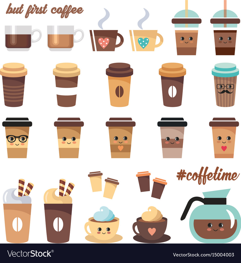 Cute coffee icons set on a white background