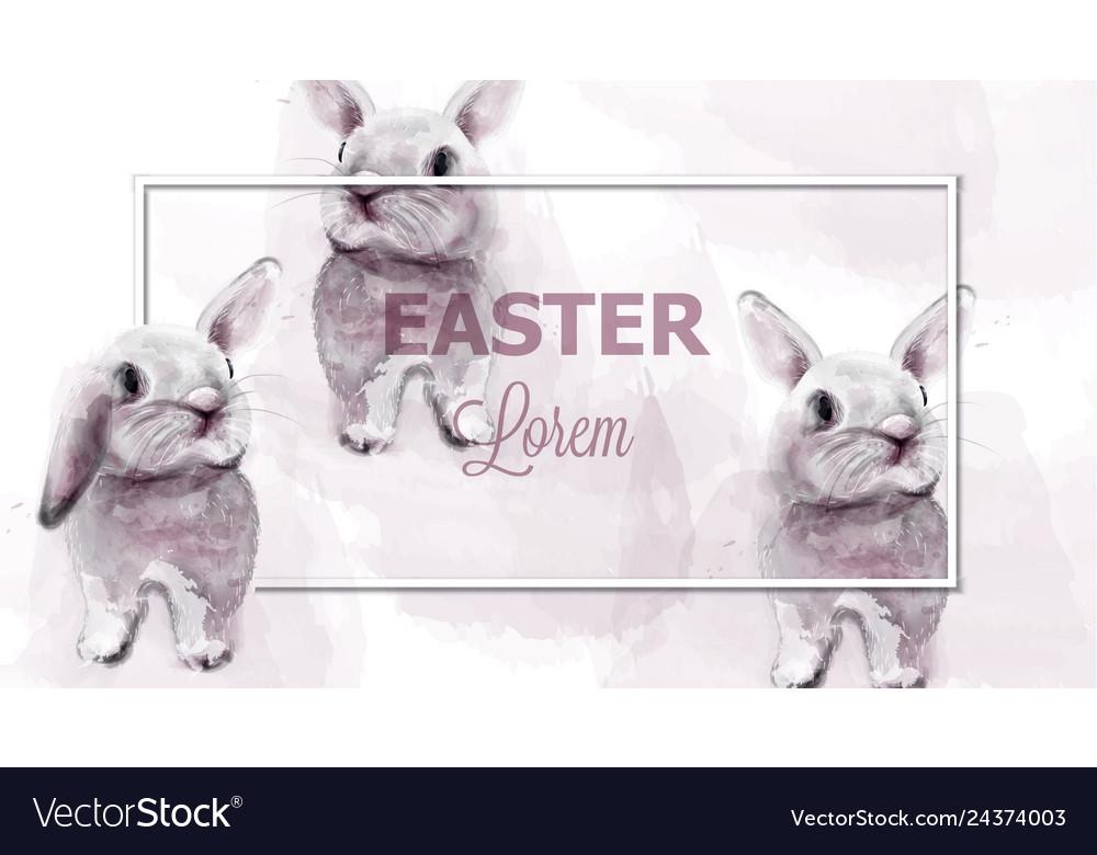 Easter bunny rabbits watercolor cute