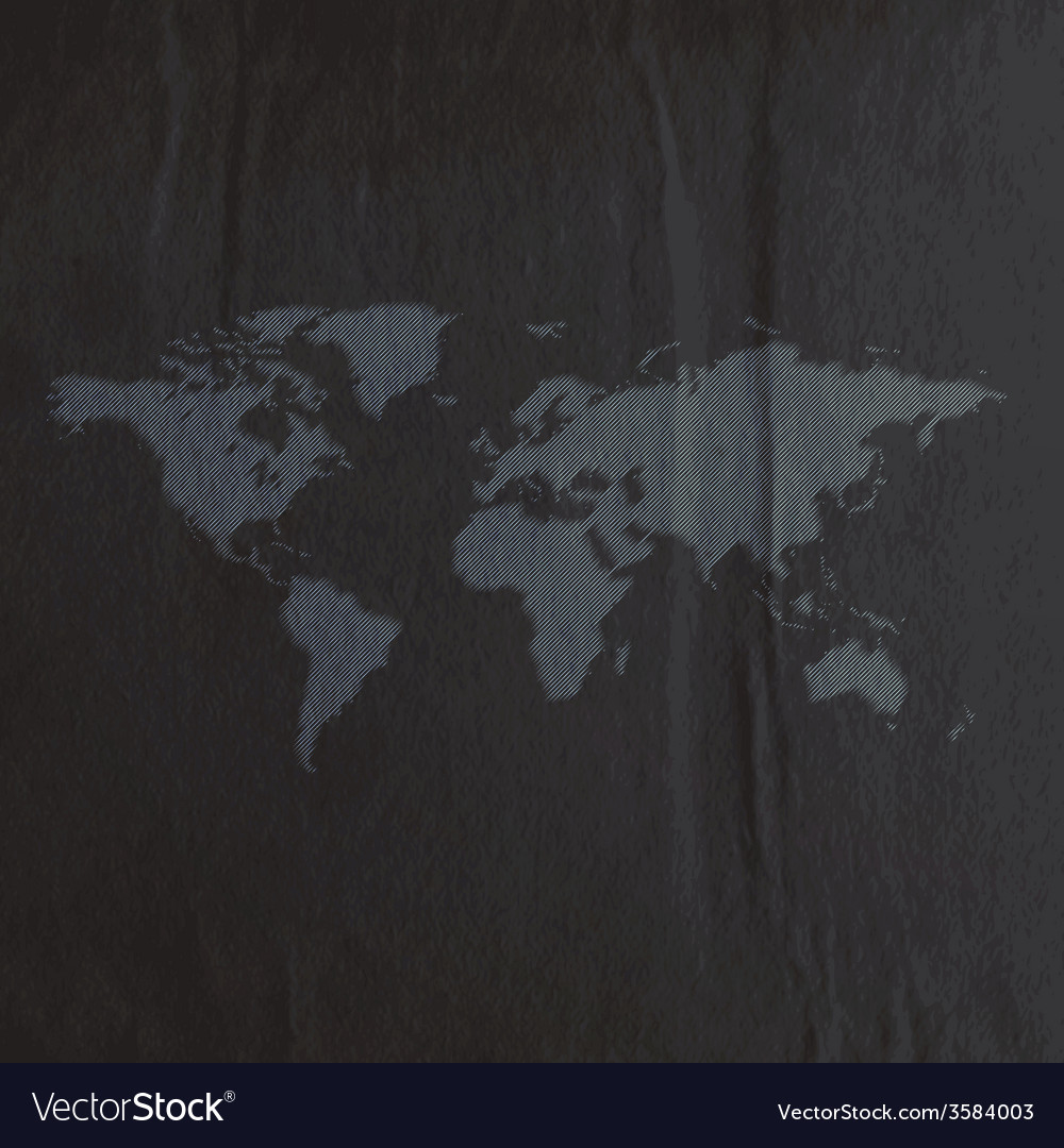 Engraving world map on the black paper texture vector image