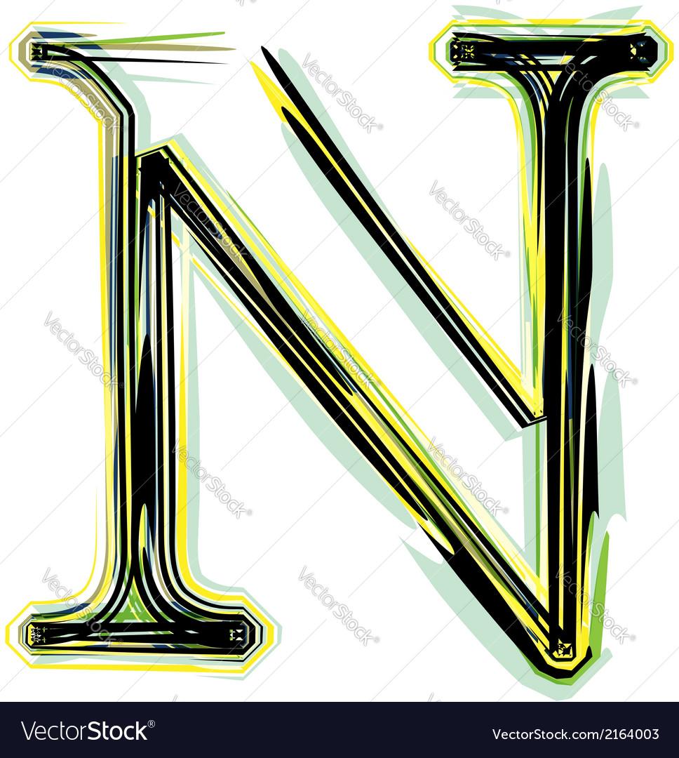 Font letter N vector image