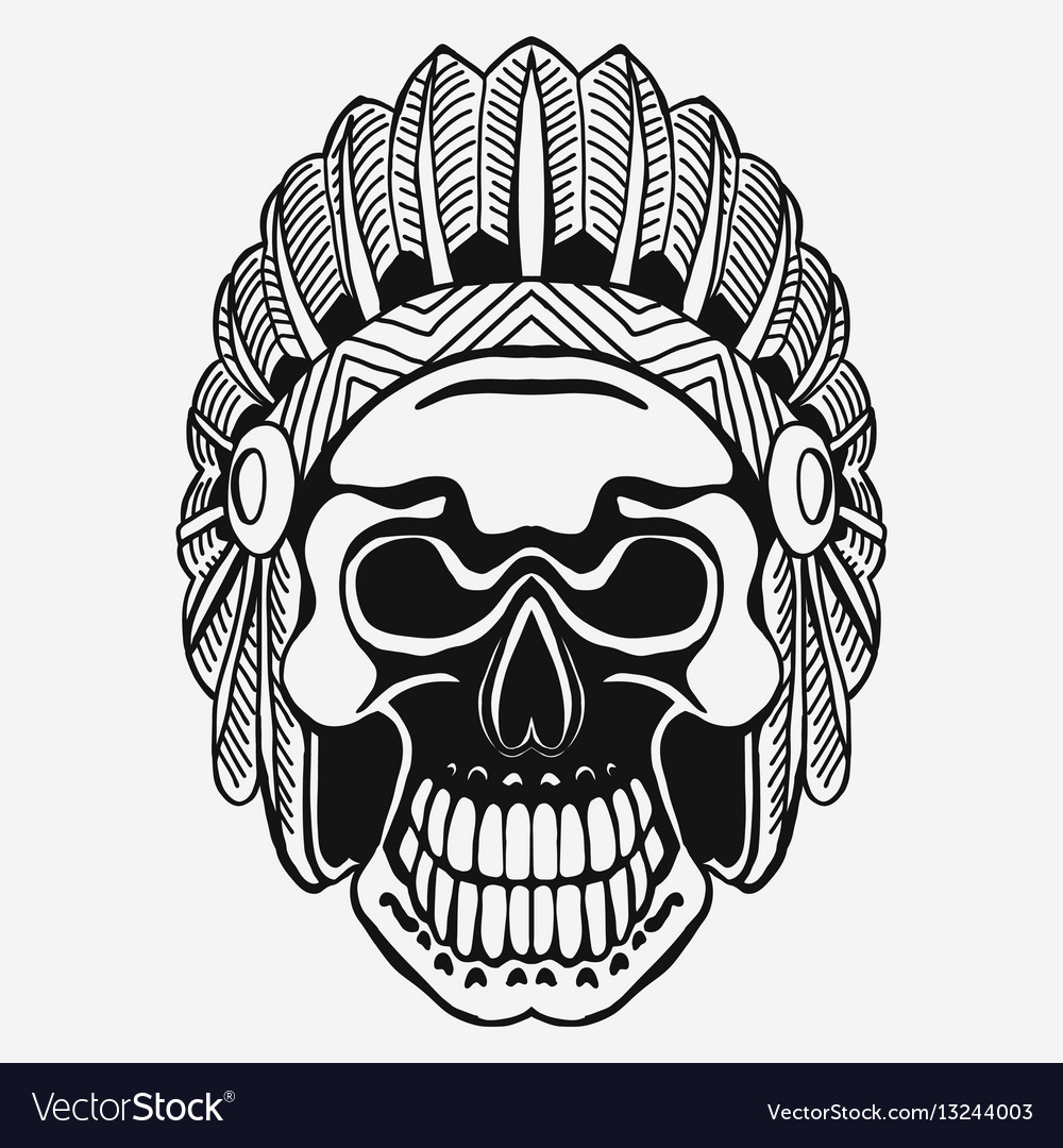 Indian skull with tribal feather hat dead chief