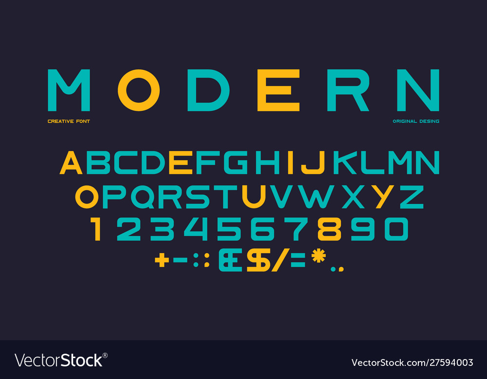 Latin alphabet numbers and punctuation font vector
