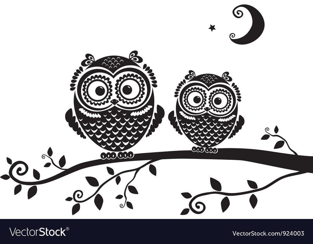 Owl black vector image