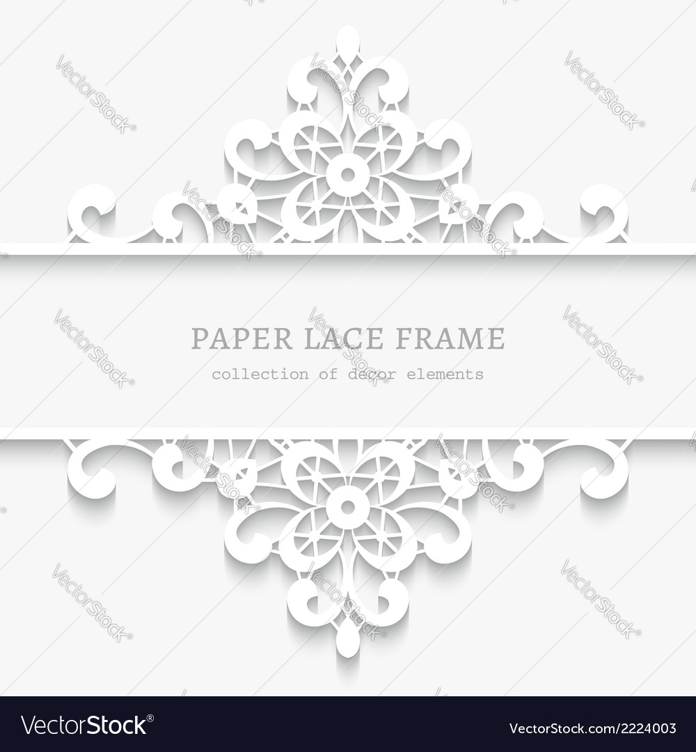 Paper lace divider frame Royalty Free Vector Image