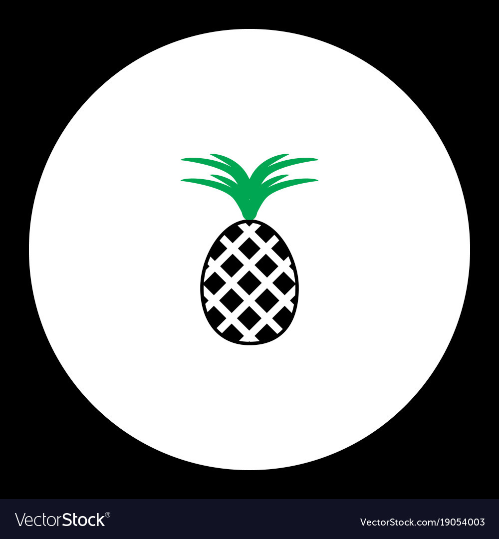 Pineapple fruit simple black and green icon eps10