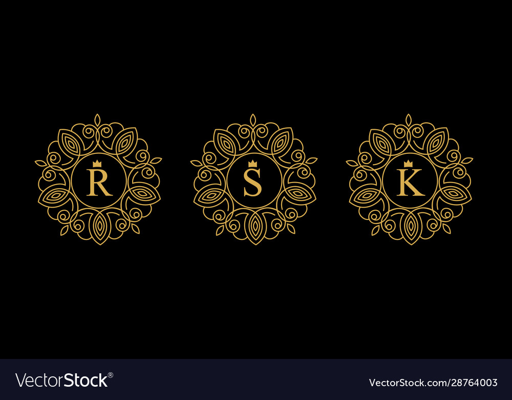 Round emblem with gold letters r s k