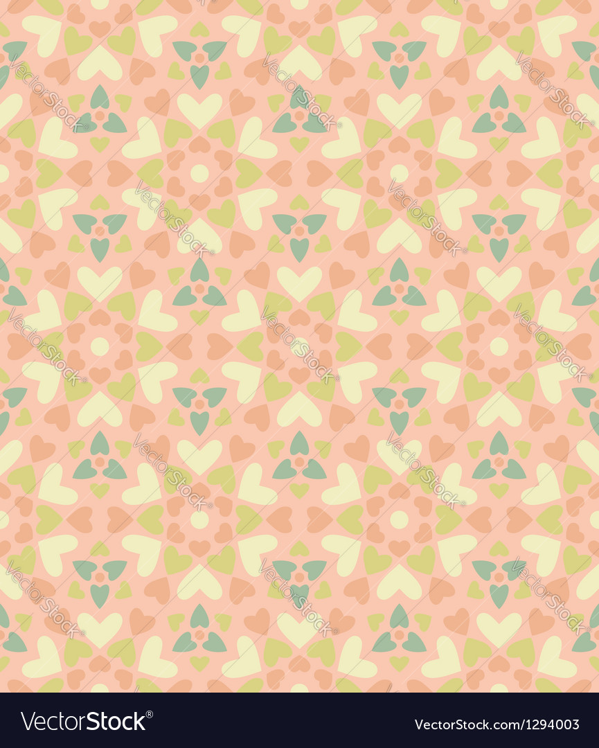 Seamless floral pattern of hearts