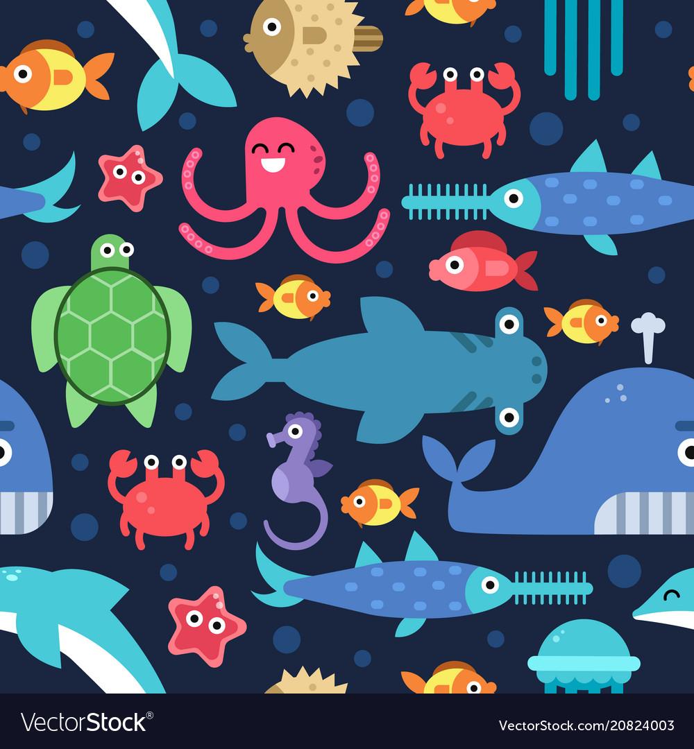 Seamless pattern sea underwater life