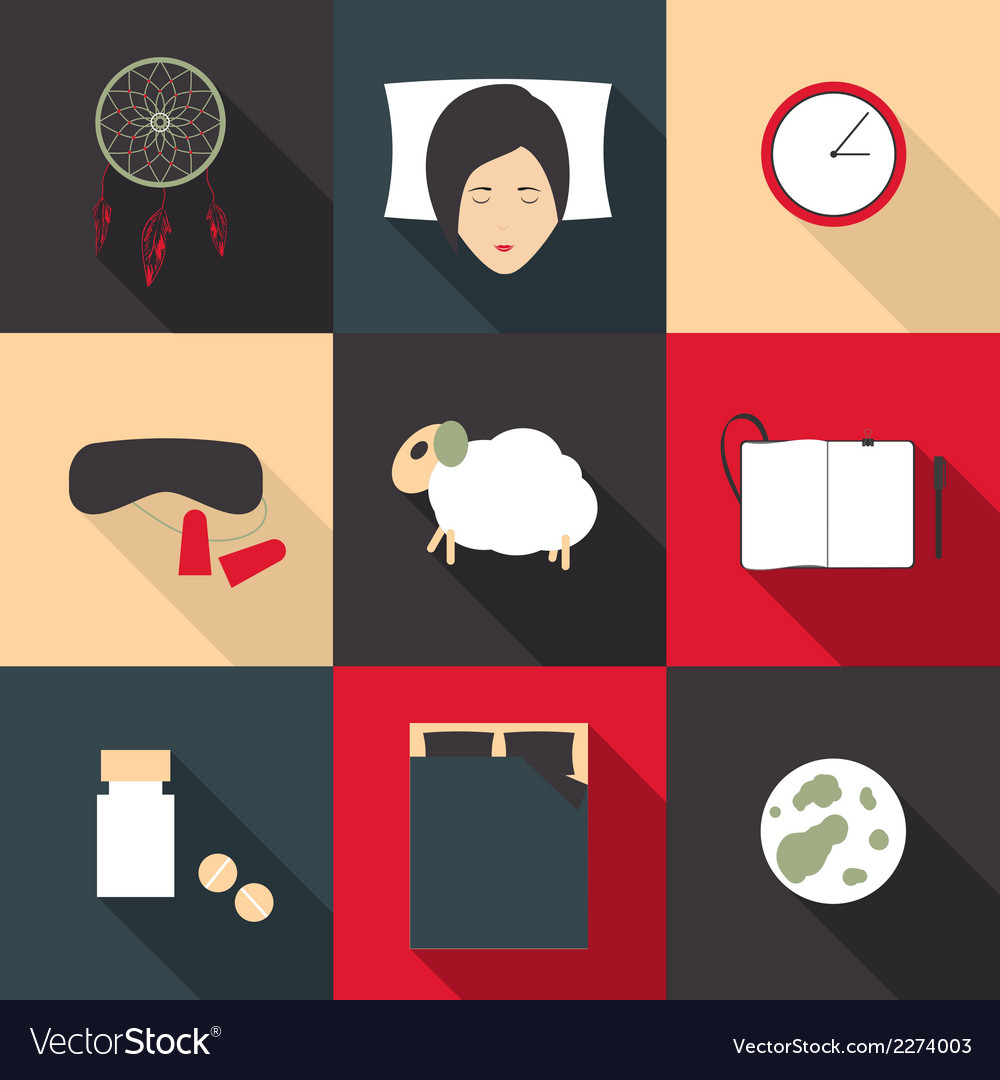 Set of colored icons on a theme of sleep in a flat