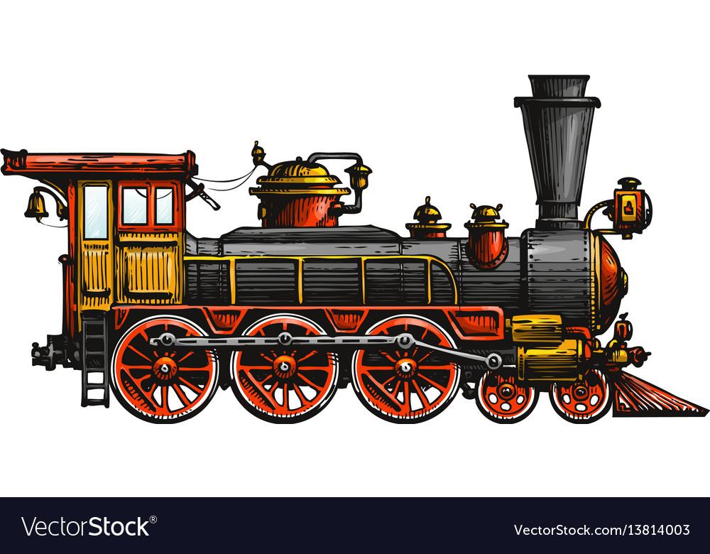 Vintage steam locomotive drawn ancient train