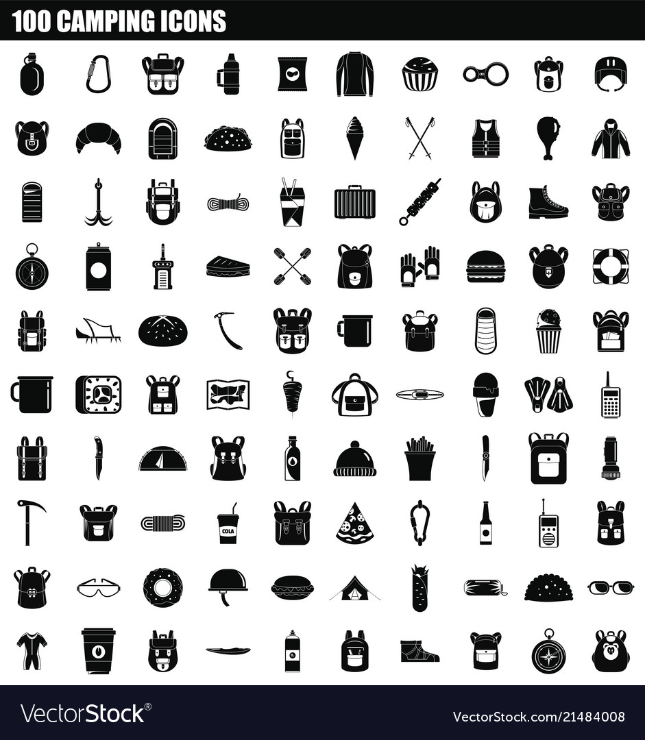 100 camping icon set simple style