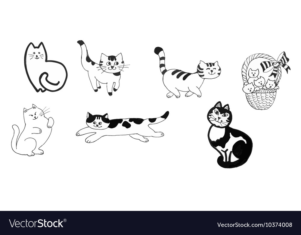 Black and white cats and kittens set ink hand vector image