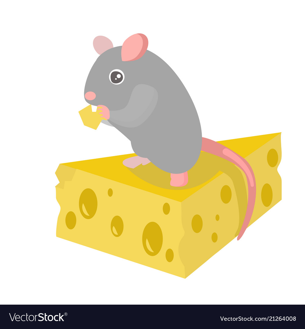 Cartoon cute gray mouse on yellow cheese piece